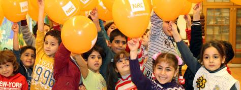 Fest med ballonger fra Flyktninghjelpen foto Malene Celius Enoksen